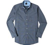 Herren Hemd Casual Modern Fit Baumwolle dunkelblau-graugrün gemustert