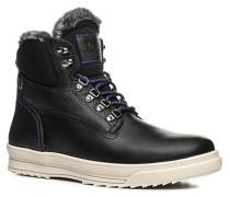 Herren Schuhe Schnürstiefel Leder warmgefüttert schwarz