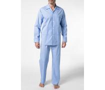 Herren Schlafanzug Pyjama Baumwolle hellblau-weiß kariert