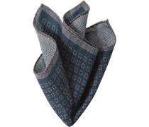 Herren Accessoires Einstecktuch, Wolle-Seide, dunkelblau-grau gemustert