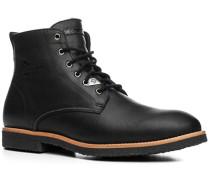 Herren Schuhe Schnürstiefel Leder Lammfell gefüttert schwarz