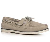 Herren Schuhe Mokassin Veloursleder beige
