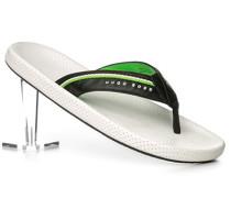 Herren Schuhe Zehensandale Leder weiß
