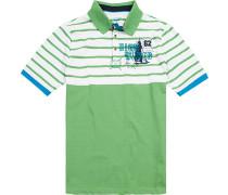 Herren Polo-Shirt, Modern Fit, Baumwolle, hellgrün-weiß gestreift