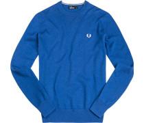 Herren Pullover Baumwolle königsblau