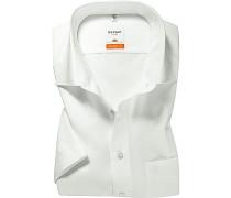 Herren Hemd, Modern Fit, Chambray, weiß