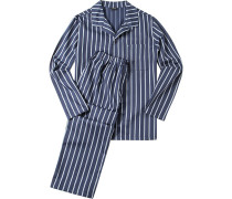 Herren Schlafanzug Pyjama Baumwoll-Twill blau-weiß gestreift
