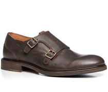 Schuhe Doppelmonkstraps, Leder, kaffee