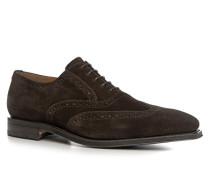 Herren Schuhe Oxford, Veloursleder, dunkelbraun