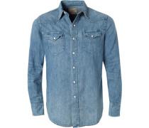 Herren Hemd, Baumwolle, blau