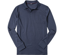 Herren Polo-Shirt Baumwoll-Jersey marineblau meliert