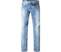 Herren Jeans Baumwoll-Stretch hellblau