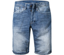 Herren Jeansshorts Straight Fit Baumwolle denim blau