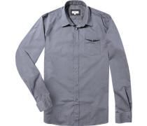 Herren Hemd Regular Fit Popeline blau-grau kariert