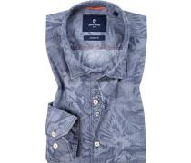 Herren Hemd, Modern Fit, Baumwolle,rauchblau gemustert