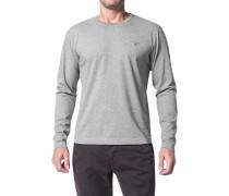 Herren T-Shirt Longsleeve Regular Fit Baumwolle hellgrau meliert