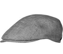 Herren   Sportmütze Leinen schwarz-weiß gemustert
