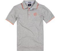 Herren Polo-Shirt, Baumwoll-Piqué, hellgrau meliert
