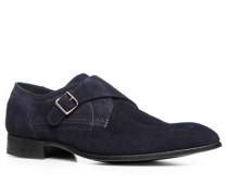 Herren Schuhe Monkstrap, Veloursleder, dunkelblau