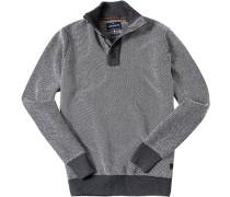 Herren Pullover Troyer Baumwolle dunkel-weiß meliert