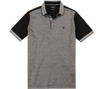 Herren Polo-Shirt, Baumwoll-Jersey, schwarz-weiß gemustert