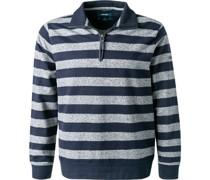 Pullover Troyer Baumwolle marine-grau gestreift