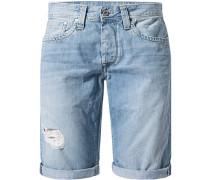 Herren Jeansshorts Straight Fit Baumwoll-Stretch jeansblau