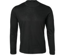 Herren T-Shirt Longsleeve Baumwolle-Kaschmir schwarz