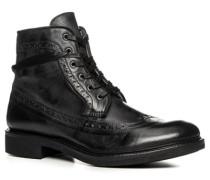 Herren Schuhe Schnürstiefeletten, Rindleder, schwarz