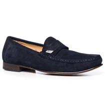 Herren Schuhe Loafer, Verloursleder, navy blau