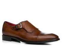 Herren Schuhe Monkstrap Leder cuoio braun,rot