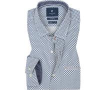 Herren Hemd, Modern Fit, Baumwolle, blau-weiß gemustert