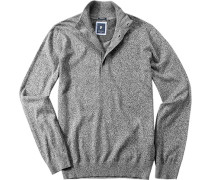 Herren Pullover Troyer Modern Fit Baumwolle grau meliert