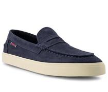 Schuhe Slipper Veloursleder navy