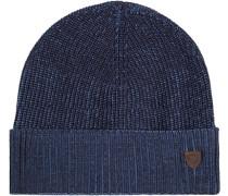 Herren  Mütze Baumwolle navy-hellblau meliert