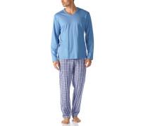 Herren Schlafanzug Pyjama Baumwolle capriblau-weiß kariert
