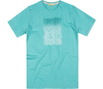 Herren T-Shirt Baumwolle türkis gemustert blau