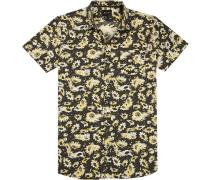 Herren Hemd Tall Fit Popeline schwarz-gelb gemustert multicolor