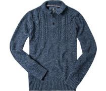 Herren Troyer Baumwolle jeansblau meliert