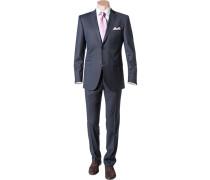 Herren Anzug, Shape Fit, Schurwolle Super120 Reda, marine gestreift blau