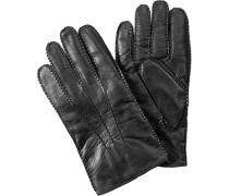 Herren Handschuhe, Ziegennappa-Strickfutter, schwarz