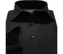Herren Hemd, Modern Fit, Popeline, Extra langer Arm, schwarz