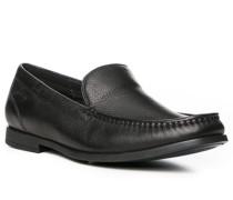 Herren Schuhe Slipper, Leder, schwarz