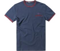 Herren T-Shirt Baumwoll-Piqué marine blau