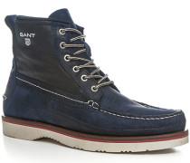 Herren Schuhe Schnürstiefeletten Veloursleder dunkelblau blau,blau