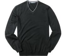 Herren Pullover Modern Fit Merinowolle extrafein schwarz
