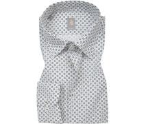 Hemd Slim Fit Baumwolle dunkel-weiß gemustert