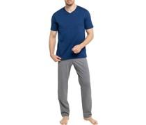 Schlafanzug Pyjama Baumwolle navy-grau