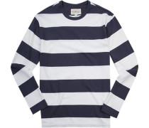Herren T-Shirt Longsleeve Baumwolle marine-weiß gestreift blau