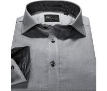 Herren Hemd, Body Fit, Baumwolle, grau meliert